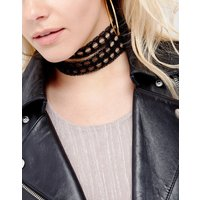 Vanessa Mooney Multi Layered Lace Choker With Gold Plated Chain - Black