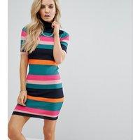 Noisy May PetiteNoisy May Petite Multi Stripe Knitted Rib Dress - Multi