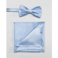 Devils Advocate Plain Satin Dusty Blue Bow Tie And Pocket Square - Blue