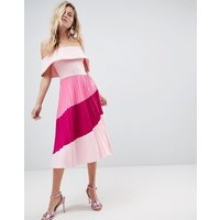 ASOS Scuba Bardot Colourblock Pleated Midi Dress - Pink