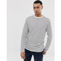New Look Long Sleeve T-Shirt With Stripe In White - White
