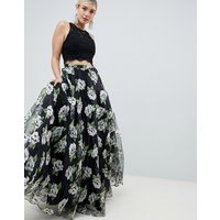 Jovani Floral Seperate Maxi Skirt with Top - Black