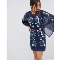 Frock & Frill Kimono Sleeve Shift Dress With Embroidered Detail - Navy