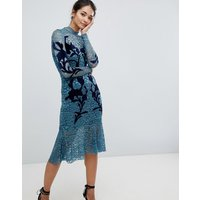 Hope & Ivy Floral Applique Dress - Teal