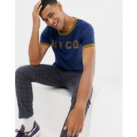 Nudie Jeans Co Kurt logo ringer t-shirt in blue - Oden blue