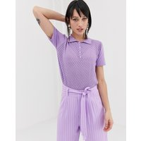 Gestuz Lisah knitted polo top - Sheer lilac
