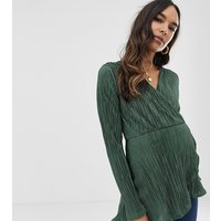 ASOS DESIGN Maternity long sleeve wrap top in plisse with asymmetric hem - Khaki green