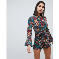 Girl In Mind bell sleeve ditsy floral print playsuit - Print