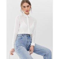 New Look Button Through Shirt in white - White
