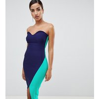 Vesper sweetheart bandeau pencil dress with contrast wrap skirt in navy - Navy/ teal