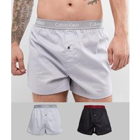 Calvin Klein 2 Pack Slim Fit Woven Boxers 2 Pack - Multi
