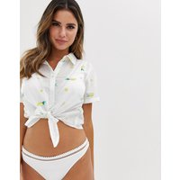 Accessorize Embroidered Lemon Knot Front Beach Shirt In White
