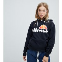 Ellesse Boyfriend Hoodie With Chest Logo - Black