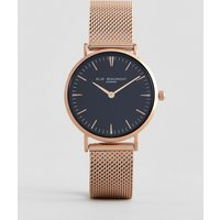 Elie Beaumont Watch With Black Dial And Rose Gold Mesh Strap - Gold