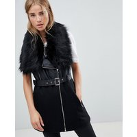 Urban Bliss Indiana Faux Fur Collar Wool Biker Mix - Black