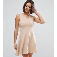 ASOS PetiteASOS PETITE Skater Dress with Asymmetric Full Skirt Dress with V Neck - Nude