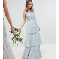 Maya Petite Floral Sequin Top Maxi Bridesmaid Dress With Tiered Ruffle Pleated Bridemaid Skirt - Ice blue