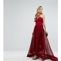 BarianoBariano Strapless Full Mesh Ball Gown - Deep red