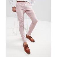 Pantalones de vestir muy ajustados de lino en rosa de ASOS DESIGN Wedding