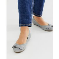Accessorize Grey Suede Ballet Flat Shoes With Bow Detail