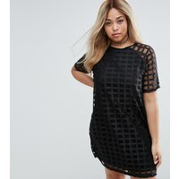ASOS CurveASOS CURVE Shift Dress In Cage Mesh - Black