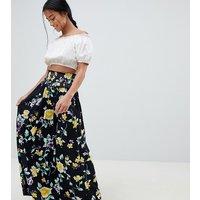 Falda larga con cintura fruncida y estampado floral de ASOS DESIGN Petite