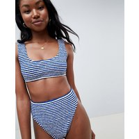 Asos Design Mix And Match Stripe Crinkle Crop Bikini Top - Navy / White