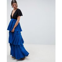 ASOS DESIGN premium tiered pleated Maxi Skirt - Cobalt