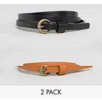 Pack de 2 cinturones muy estrechos con diseño para la cadera y la cintura de efecto vintage de ASOS DESIGN