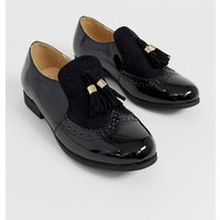 Truffle Collection slip on tassel loafer in black - Black patent