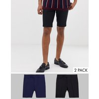 Pack de 2 pantalones cortos de largo medio y corte slim en negro y azul marino de ASOS DESIGN