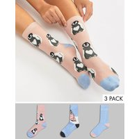 Sock Shop 3 Pack Fluffy Penguin Sock Gift Box - Blue
