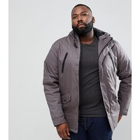 Brave Soul PLUS Hooded Bonded Parka - Grey