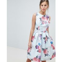 Chi Chi London Bow Back Midi Prom Dress in Floral Print