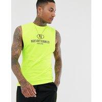 Night Addict neon yellow sleeveless t-shirt vest - Yellow