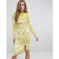 Miss Sefridge Velvet Ruched Mini Dress - Chartreuse
