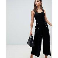 Karen Millen strappy back culotte jumpsuit - Black