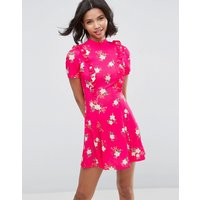 ASOSASOS Mini Tea Dress With Open Back And Frill - Pink floral