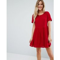 ASOSASOS Casual Mini Smock Dress in Grid Texture - Dark red