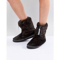 Bedroom Athletics Marilyn Short Faux Fur Slipper Boot - Charcoal black