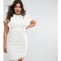 Chi Chi London Plus 2 in 1 Pencil Dress with Lace Skirt - White