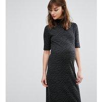 Mama.liciousMamalicious Textured High Neck Short Sleeve Dress - Black