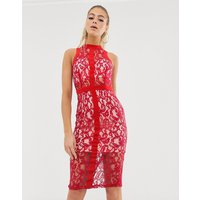 Girl In Mind lace high neck bodycon dress - Pink & red