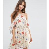 ASOS PetiteASOS PETITE Cold Shoulder Mini Dress with Ruffle Sleeve in Vintage Floral Print - Multi