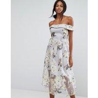 Amy LynnAmy Lynn Bardot Midi Prom Dress In Floral Print - Lilac