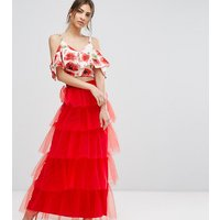 True Violet Tiered Tulle Maxi Skirt - Red