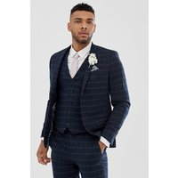River Island skinny suit jacket in navy check - Navy