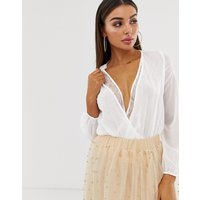 Koco & K wrap lace trim blouse in ivory - White