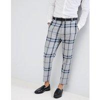 Pantalones de vestir de corte tapered a cuadros extragrandes en gris claro de ASOS DESIGN