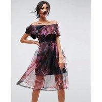 ASOSASOS Floral Organza Prom Midi Dress - Black